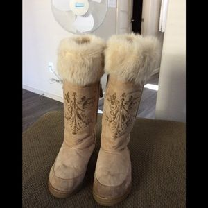 J.Crew Alpine camel embroidered suede boots 8 228